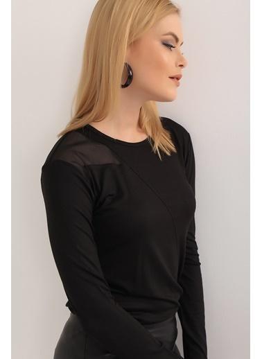 Emjey Tek Omuz Tül Detaylı Bluz Siyah